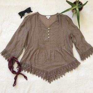 lace trim taupe blouse
